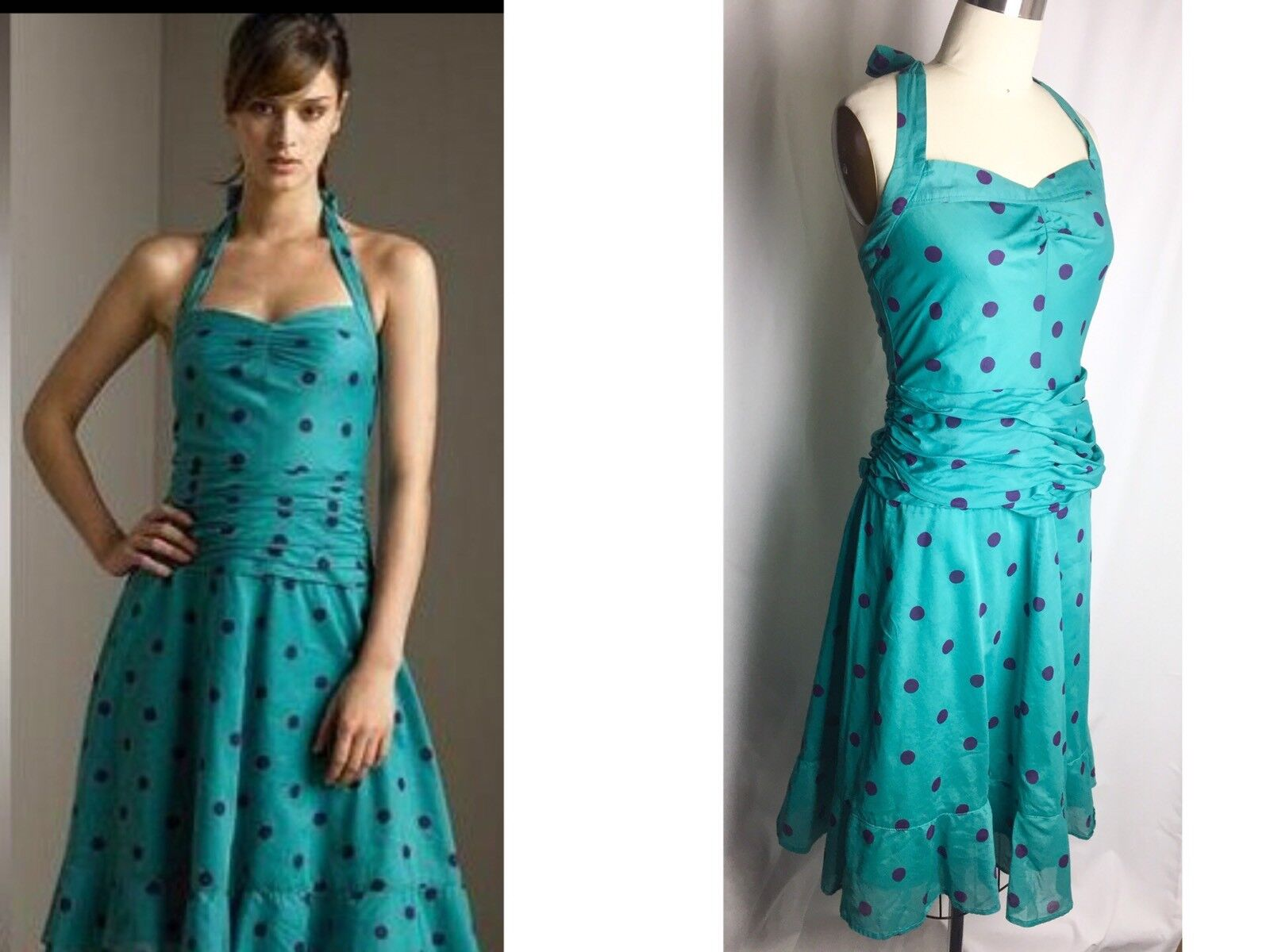 MARC JACOBS Cotton Volie Greeen & bluee Polka Dot Halter Dress Size