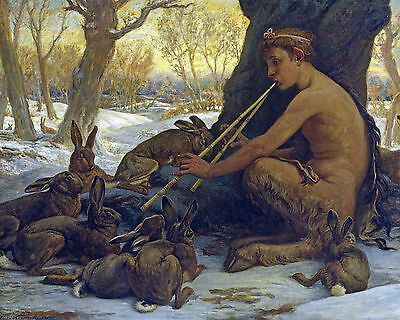 Elihu Vedder Marsyas Satyr Playing Music To Rabbits Real Canvas Art Print