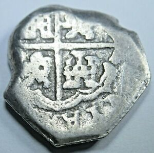 1600s-Spanish-Silver-2-Reales-Piece-of-8-Real-Colonial-Cob-Two-Bit-Treasure-Coin