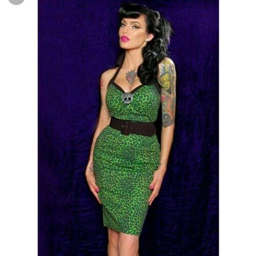 Deadly Dames Rare Green Leopard Wiggle Dress XL No