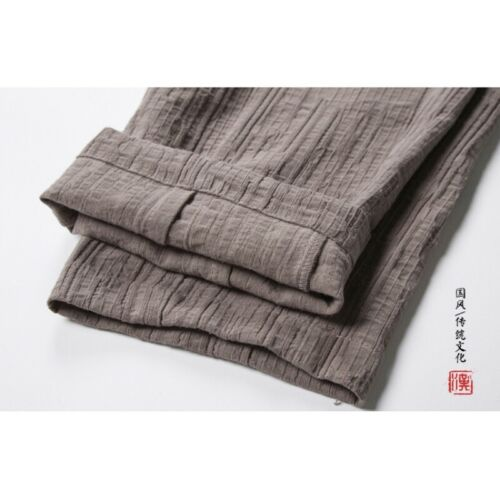 Winter Men/'s Cotton Linen Brossé Doublure Pantalon style chinois Pantalon thermique L