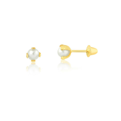 18k Yellow Gold Freshwater Pearl Push Backs Stud Earrings for Infants and Babies