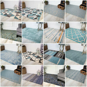 Modern Moroccan Duck Egg Blue Living Room Rugs Soft Non Shed Warm