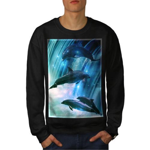 Wellcoda Dolphin Moon Space Mens Sweatshirt Wave Casual Pullover Jumper