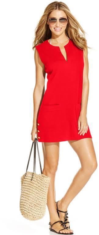 LAUREN Ralph Lauren Button Tunic Cover-Up Women's Swimwear Red