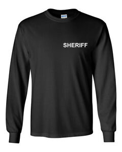 0ee01c0d7059 SHERIFF T-Shirt Cop Double Sided Police Duty Tee Shirt Long Sleeve ...