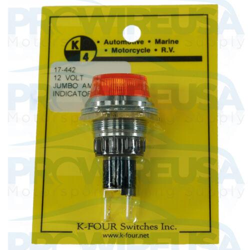 K4 17-442 Amber Jumbo 12 Volt Indicator Light Panel Mount  Race Car Aviation