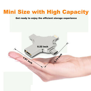 4 in 1 Type C USB Flash Drive  Memory Stick For iPhone Android PC 64//128//256 GB