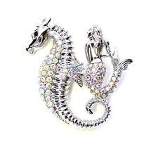 Seahorse Mermaid Pin Brooch Sparkling AB Aurora Borealis Crystal