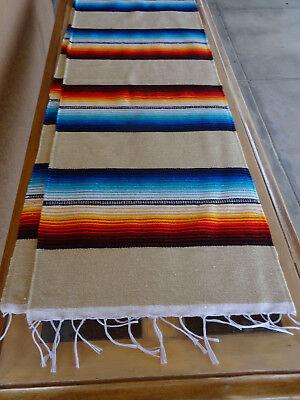 Serape Table Runner Beige Onwsrun 13x72 Southwestern Southwest Mexican Ebay