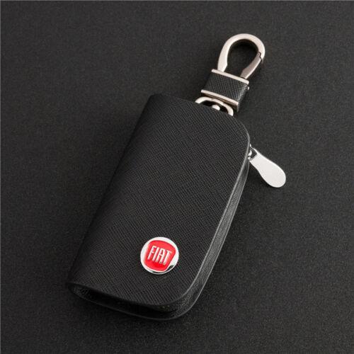 Rindsleder Autoschlüssel Schlüsseltasche Schlüsselanhänger für FIAT schwarz