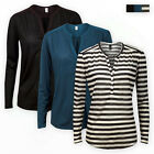 H&M Women Ladies Y-Neck Plain Stripe TOP Casual Long Sleeve Girls T-SHIRT Blouse