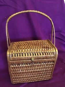 Woven Wicker Rattan Bag Purse Basket with Handle lid 16 in high Vtg