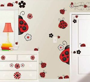 LADYBUG LADYBUGS GiaNT WALL DECALS 38 Red White Black Stickers Floral Room Decor