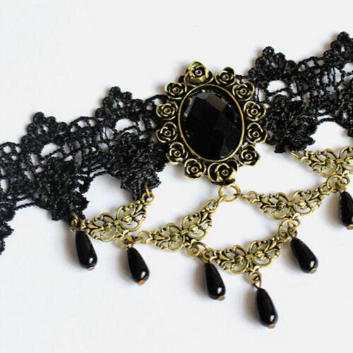 Mujeres Collar Cuello Gargantilla Victoriano Gótico gota colgante vintage de encaje negro
