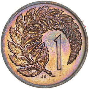 1974-NEW-ZEALAND-1-CENT-BU-UNC-STUNNING-DEEP-MULTI-COLOR-TONED-GEM-MR