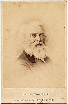Cabinet portrait of American poet Henry Wadsworth Longfellow 1880c Elliott & Fry