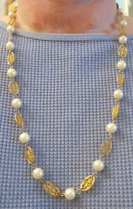 Vintage 22 inch Gold Clad Oval Swirls Linked Imitation Pearl Beaded Necklace (54