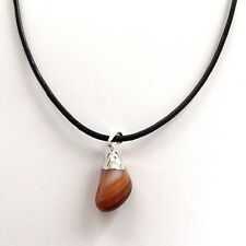 THIN BLACK REAL LEATHER NECKLACE CHOKER SILVER PLATED ORANGE CARNELIAN STONE