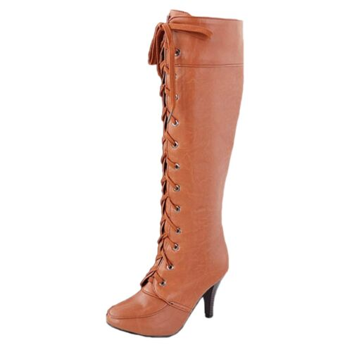 high heel Boots Casual lace up Combat booties womens Ladies Cowboy Shoes Size