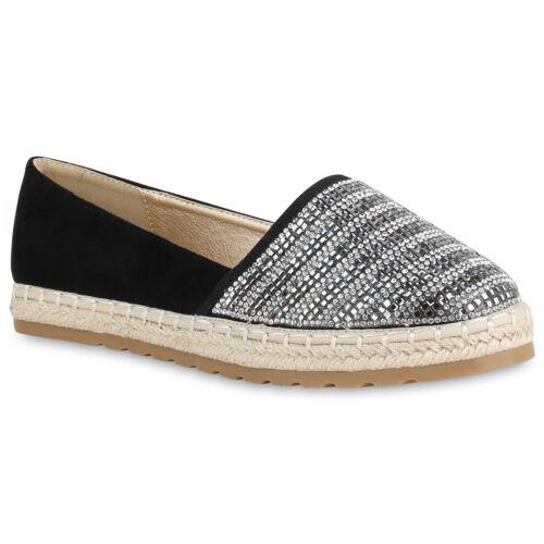 Damen Bast Espadrilles Plateau Slippers Strass Slip Ons Schuhe 820835 Trendy