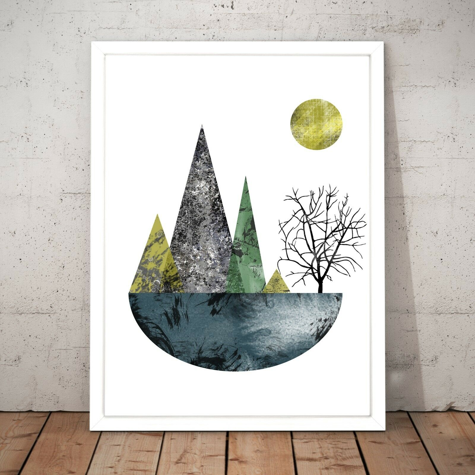 Nature Scandi Modern Scandinavian Decor Art Poster Print - A4 A3 A2 A1 A0 Framed