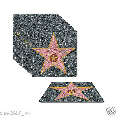 8 HOLLYWOOD Movie Night Party Decor Prop Bar Drink Beverage Paper STAR COASTERS