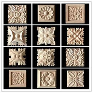 10x-Holz-Schnitzerei-Verzierungen-Ornamente-Holzzierteile-Holzornamente-Moebel