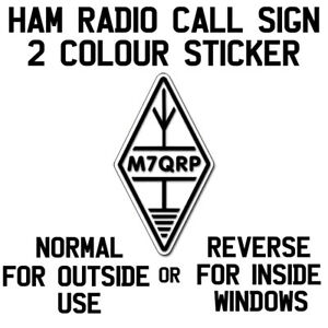 Call Sign Decal Sticker Diamond Logo Black White Background Ham Amateur Radio Ebay