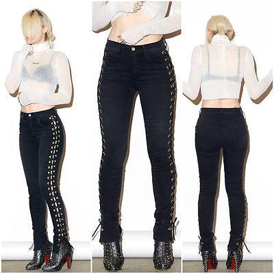 Women's Bandage Lace-Up Denim Jeans High Waist Trousers Stretch Leggings Pants