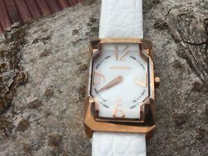 Chronotech analog fat glass watch - white leather band - new