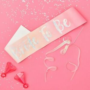 Bride-To-Be-Sash-Hen-Party-Decorations-Pink-Silver-Irradiscent-Bachelorette