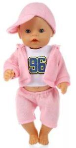 43 cm NEU zb Baby Born pink/hellblau Jogging Anzug Puppenkleidung
