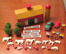 Vintage 1950's  Ohio Art Tin Barn & Silo Farm Playset Signs Cars Animals Trees