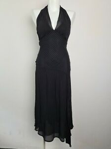 CUE Fit & Flare Black Pin Stripe Chiffon Party Midi Halter Dress Women's Size 8