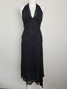 CUE-Fit-amp-Flare-Black-Pin-Stripe-Chiffon-Party-Midi-Halter-Dress-Women-039-s-Size-8