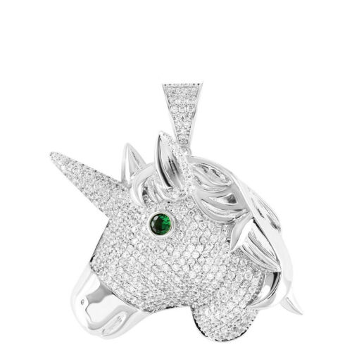 14K White Gold Over Real Silver Blessed Unicorn Emerald Eye Royal Pendant Charm