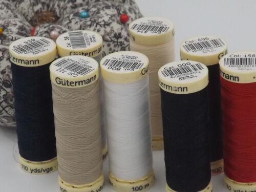 100m Sew All Thread 100/% Polyester GUTERMANN BLACK #000