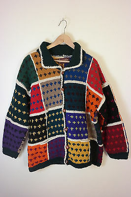 Artesanias ISHKA Ecuador 100% wool Geometric Cardigan Sweater L XL funky artsy | eBay