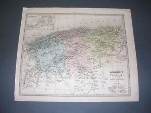Carte Geographique De Lalgerie.Algerie Carte Geographique Couleurs De L Algerie A Le Vasseur 19