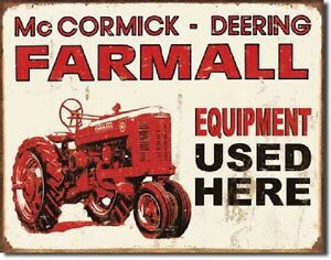 Farmall-Tractor-Equipment-Used-Here-International-Harvester-IH-Metal-Tin-Sign-X