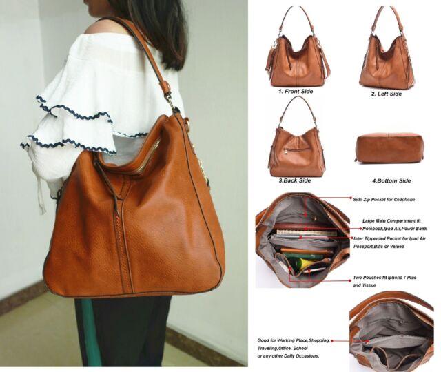 dca68ff1eff0 Large Leather Hobo Handbags Purse Shoulder Strap Vintage Bucket Bag Brown  Women