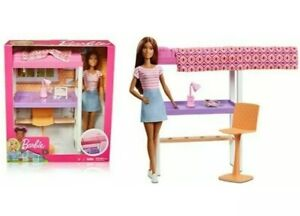 Details about ✨BARBIE DOLL LOFT BED PLAY SET OFFICE BEDROOM DESK LAMP CHAIR  BUNK BED IPAD NEW✨