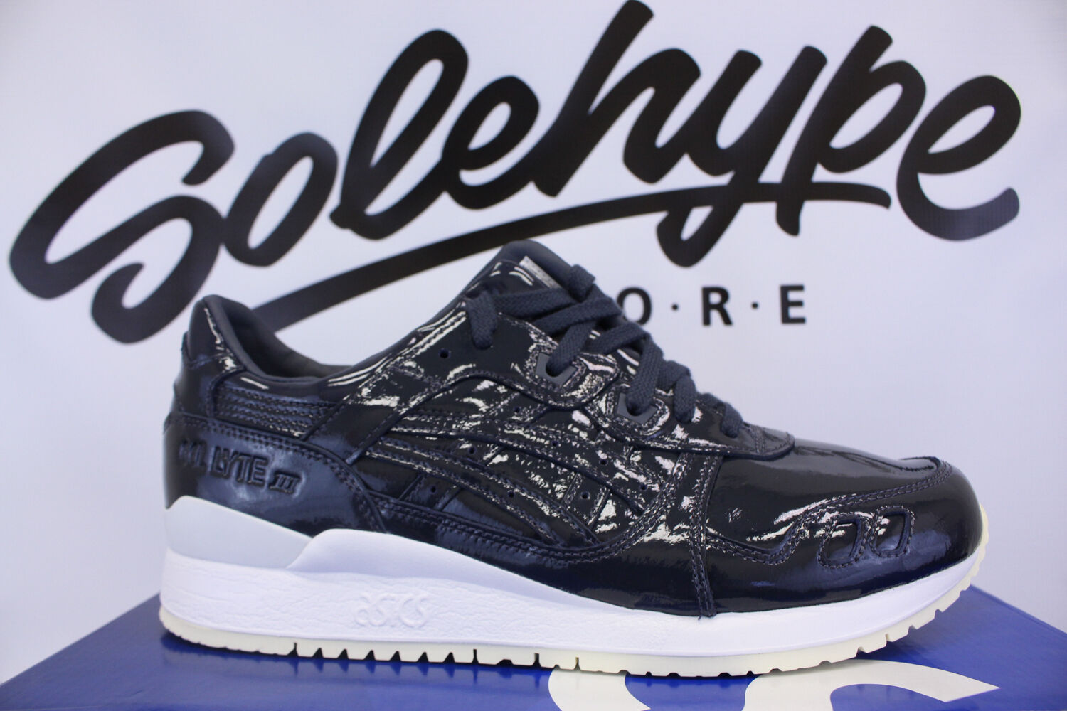 ASICS GEL LYTE III 3 PATENT LEATHER INDIA INK H7H1L 5858 SZ 8.5