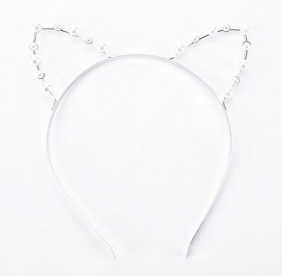 PEARL CAT EARS HEADBAND SILVER CAT EAR KAWAII HEAD BAND