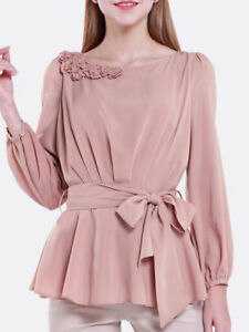 Pink-Crew-Neck-Long-Sleeve-Belted-Blouse-NWT-21400