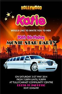 Personalised birthday invitations hollywood super star limo party x image is loading personalised birthday invitations hollywood super star limo party stopboris Image collections