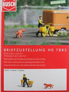 """Busch H0 7885 ACTION SET """"Briefzustellung"""" Zusteller, Fahrrad 1:87/H0 NEU/OVP"""
