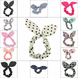 PONYTAIL-HOLDER-BOW-RABBIT-EARS-BOBBLE-SCRUNCHIE-HAIR-BANDS-ELASTICS-WITH-TAILS