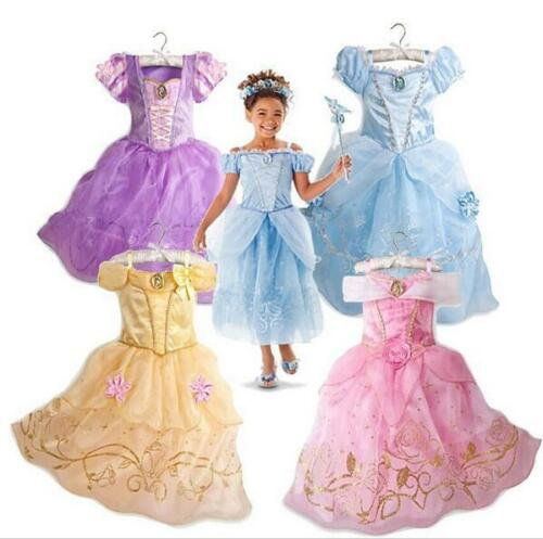 Kid Princess Party Fancy Dress Up Costume Girls Aurora Sandy Rapunzel Belle gift